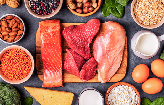 A table full of ketegenic diet food including salmon, beef and egg   Keto Diet Extends Longevity and Healthspan in Mice